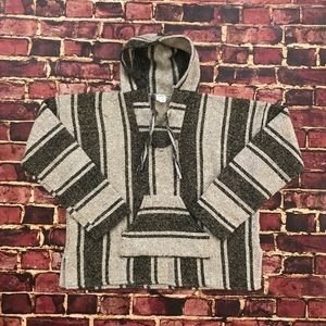 Other - Vintage Baja Hoodie Mexican Poncho Striped XL